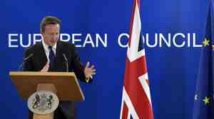On the sidelines of the EU summit in Brussels, U.K. Prime Minister David Cameron said the choice of Jean-Claude Juncker to head the European Co