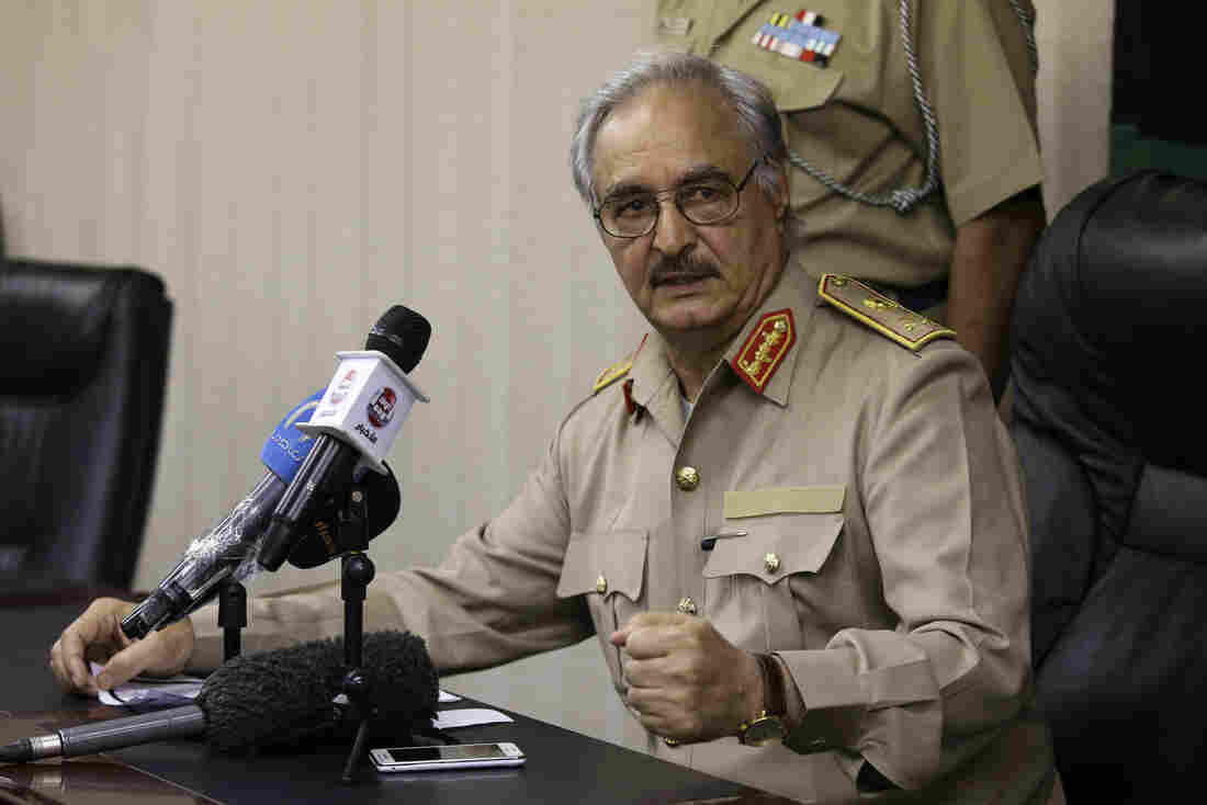 Libya's Gen. Khalifa Hifter speaks at a news conference in Abyar, a small town to the east of Benghazi, on May 31. Hifter, a former military officer in Moammar Gadhafi's army, has has launched a self-declared campaign against Muslim extremists. This h