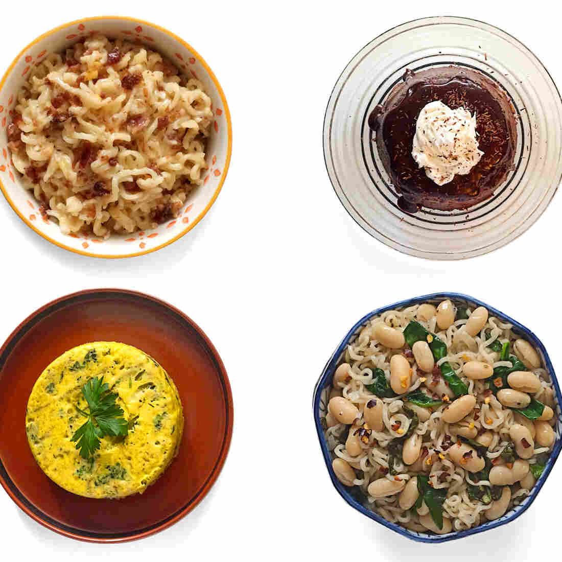 (Top left, clockwise) Macmen N' Cheese; chocolate ramen; udon and egg. (Bottom row) Ramen fritatta; cannellini beans and spinach; and southwest taco from the book Rah! Rah! Ramen.