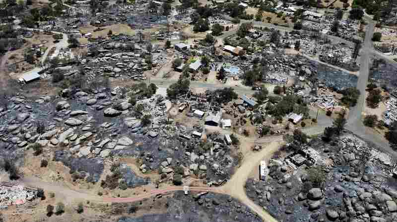 This aerial photo shows Yarnell, Ariz., days after a fire claimed the lives of 19 members of an elite firefighting crew.