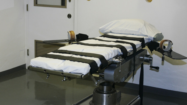 The gurney in the execution chamber at the Oklahoma State Penitentiary. Inmates there say that multi-drug executions are a form of human experimentation. (AP)