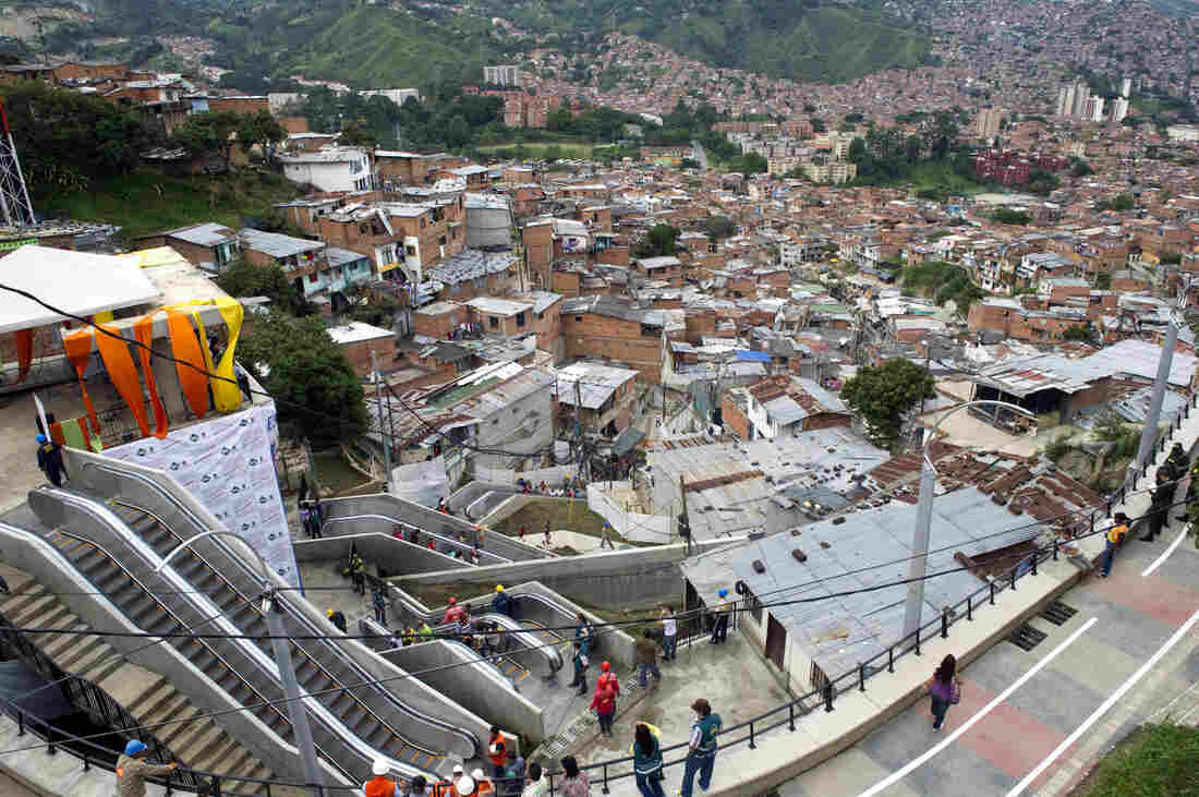 The escalators in Medellin, Colombia, on Dec. 26, 2011, the day of their inauguration.
