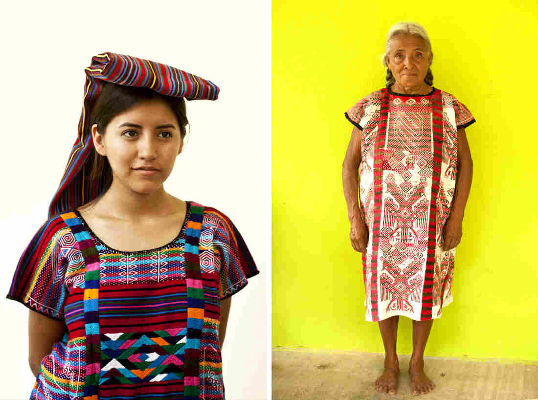 To the left is a fiesta huipil from northern Oaxaca. Carla Fernandez recently visited the region to look for fabrics she might use in future designs; at right, a Quetzalcoatl feathered-serpent fiesta huipil worn by a weaver in San Lucas Ojitlan.