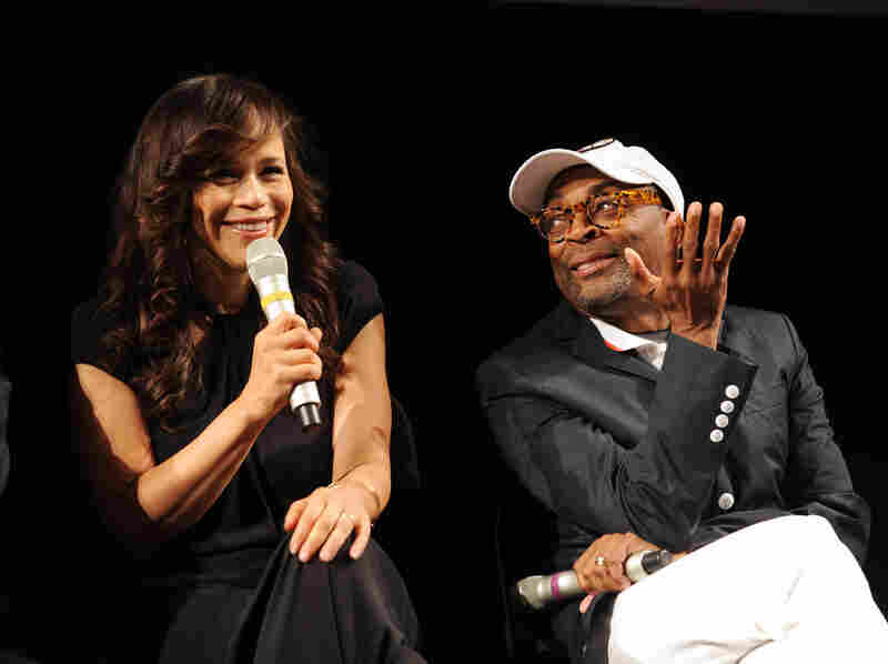 """Rosie Perez and Spike Lee attend The Academy Of Motion Picture Arts And Sciences and BAMcinematek 25th anniversary screening of """"Do The Right Thing"""" at BAM Fisher on June 29, 2014 in Brooklyn, New York."""
