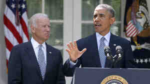 President Obama, accompanied by Vice President Biden in the White House Rose Garden, lashed