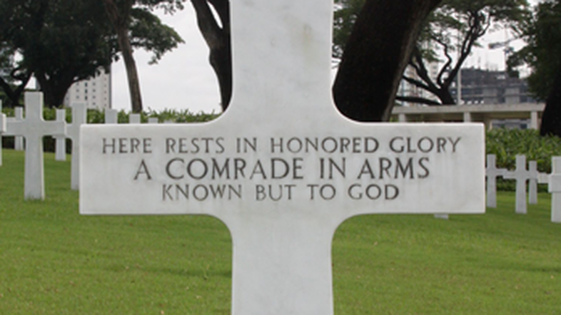 The grave at the Manila American Cemetery and Memorial, where Bud Kelder's family believes he is buried.