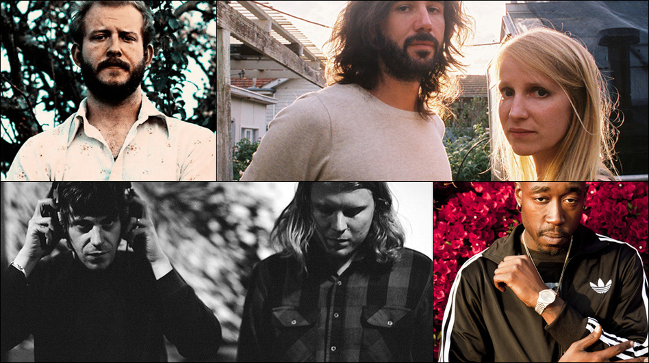 Clockwise from upper left: Justin Vernon of Bon Iver, Luluc, Freddie Gibbs, Tim Presley and Ty Segall of White Fence (Courtesy of the artists)