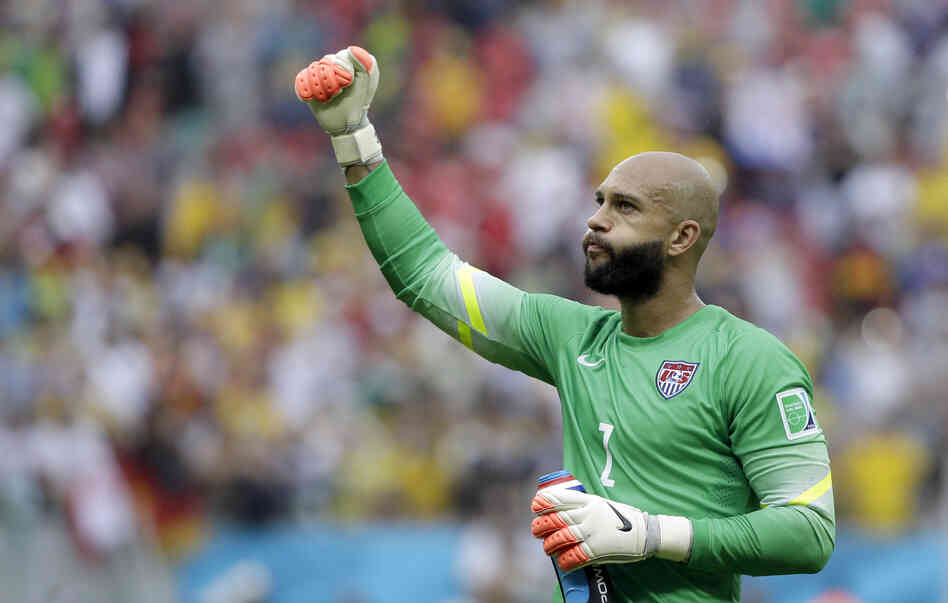 U.S. goalkeeper Tim Howard pumps his fist after qualifying for the next World Cup round following the team's 1-0 loss to Germany last week.