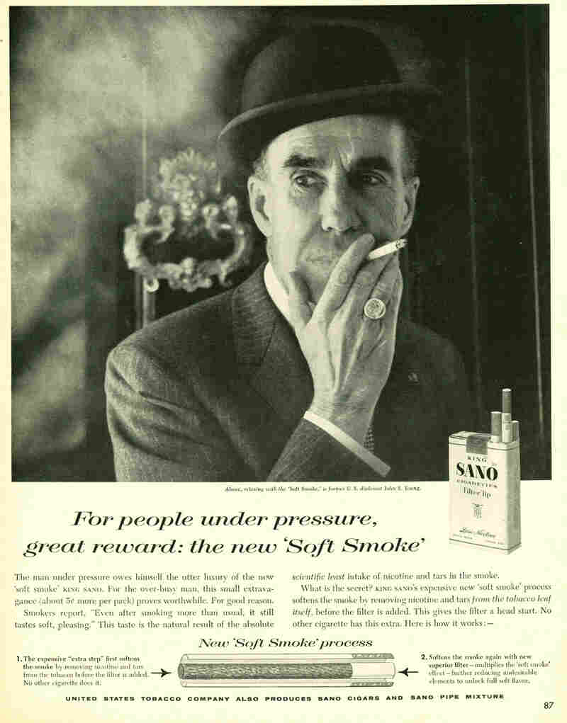 Cigarettes were also marketed as a reward at work. King Sano, 1959.