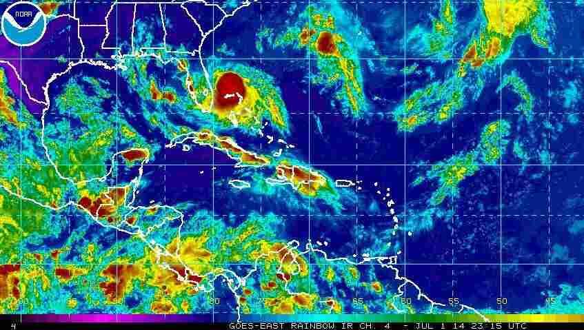 Tropical Storm Arthur spins off the coast of Florida.