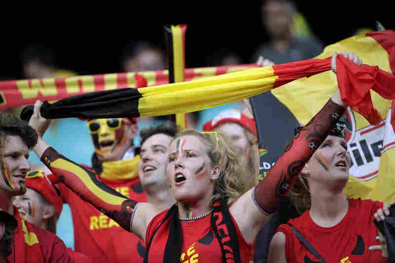 Belgium fans gather before the game.