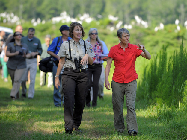 Interior Secretary Sally Jewell takes a tour of the Harris Neck National Wildlife Refuge in Townsend, Ga., last week with U.S. Fish and Wildlife Service refuge manager Kimberly Hayes.