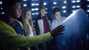 "In Earth to Echo, Brian ""Astro"" Bradley, Ella Wahlestedt, Reese Hartwig and Teo Halm play a group of kids whose neighborhood is being destroyed by a highway construction project, forcing their families to move."