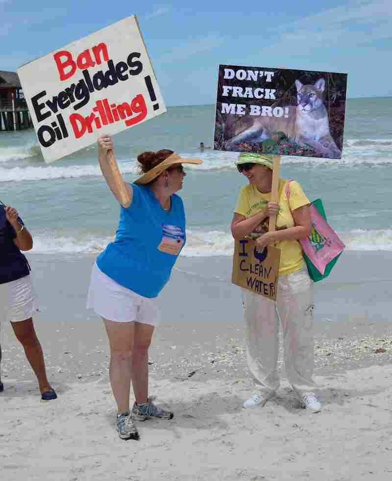 Protesters at an event in May in Naples, Fla., opposed to drilling near the Everglades. State officials say they have found no evidence of groundwater contamination from a type of drilling used nearby known as acidification.