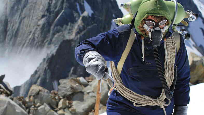 The cast and crew of Beyond the Edge re-enacted Sir Edmund Hillary's (Chad Moffitt) historic climb on site at Mount Everest, and at Aoraki/Mount Cook National Park in New Zealand's Southern Alps.