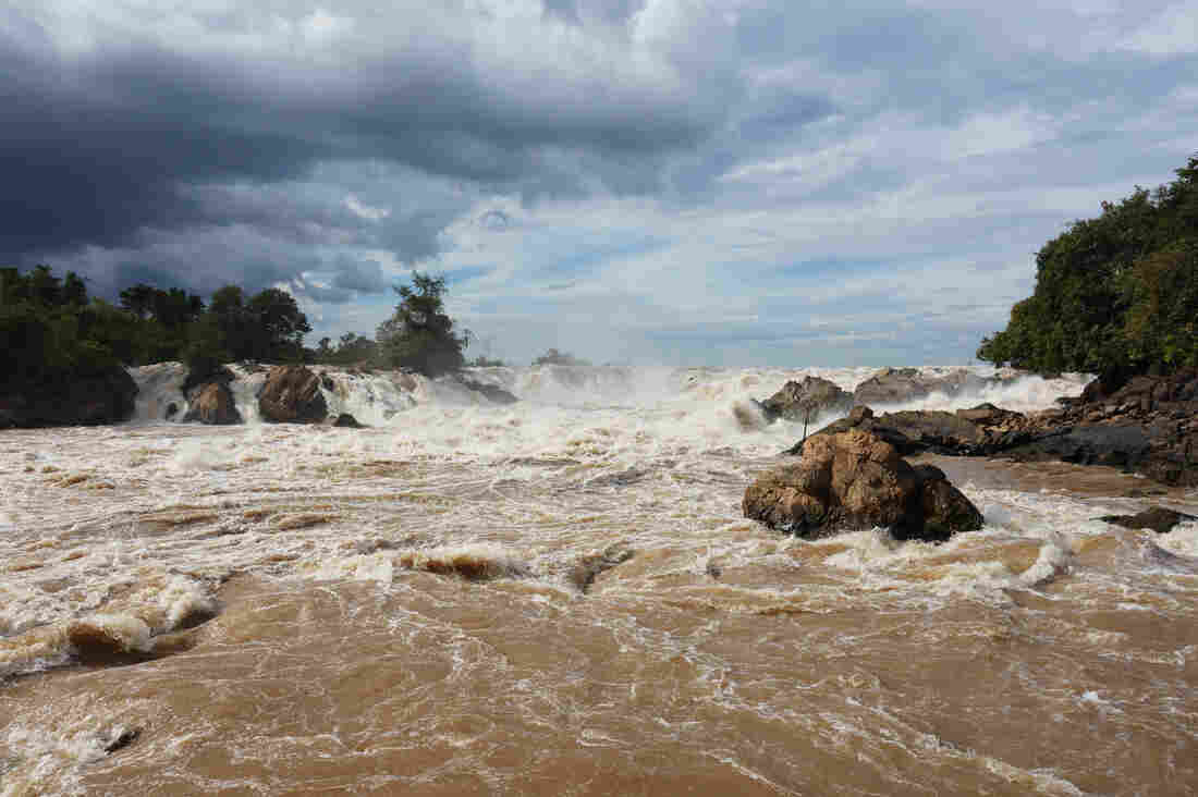Khone Falls, on one of the channels of the Mekong in Si Phan Don, is a major tourist attraction — but not so good for fish.