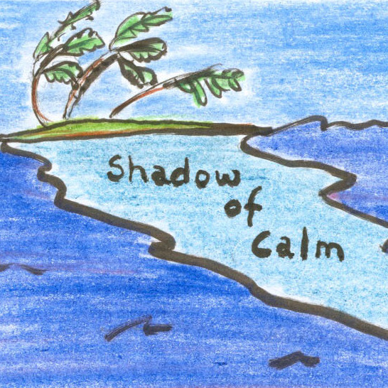 An island deflects the current's path, creating a zone of calm in its wake.