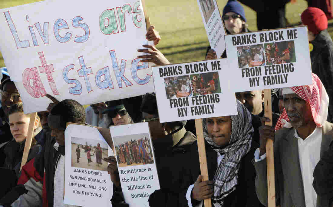 Somali-Americans rally in Minnesota in 2012, after the only bank that supported the money-exchange system called hawala withdrew from those transactions. Other banks eventually stepped in to fill the demand, but one of the last to facilitate the transfers plans to stop doing so at the end of the month.