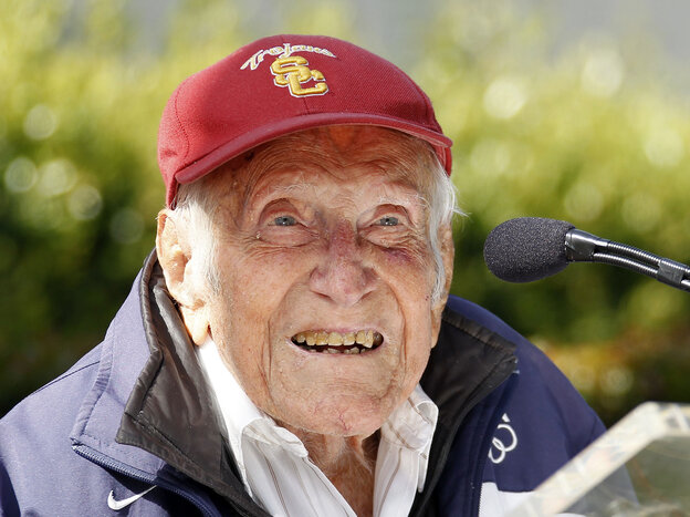 Louis Zamperini at a news conference in May in Pasadena, Calif. Zamperini, a onetime Olympic runner who in Worl