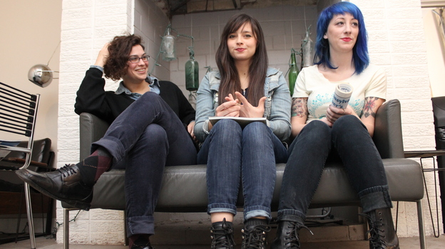 Philadelphia punk trio Cayetana (left to right: Allegra Anka, Kelly Olsen, Augusta Koch) will release its debut on the small indie label Tiny Engines later this year. (Courtesy of the artist)