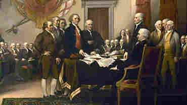 The Founding Fathers are depicted in the painting Declaration of Independence, by John Trumbull.
