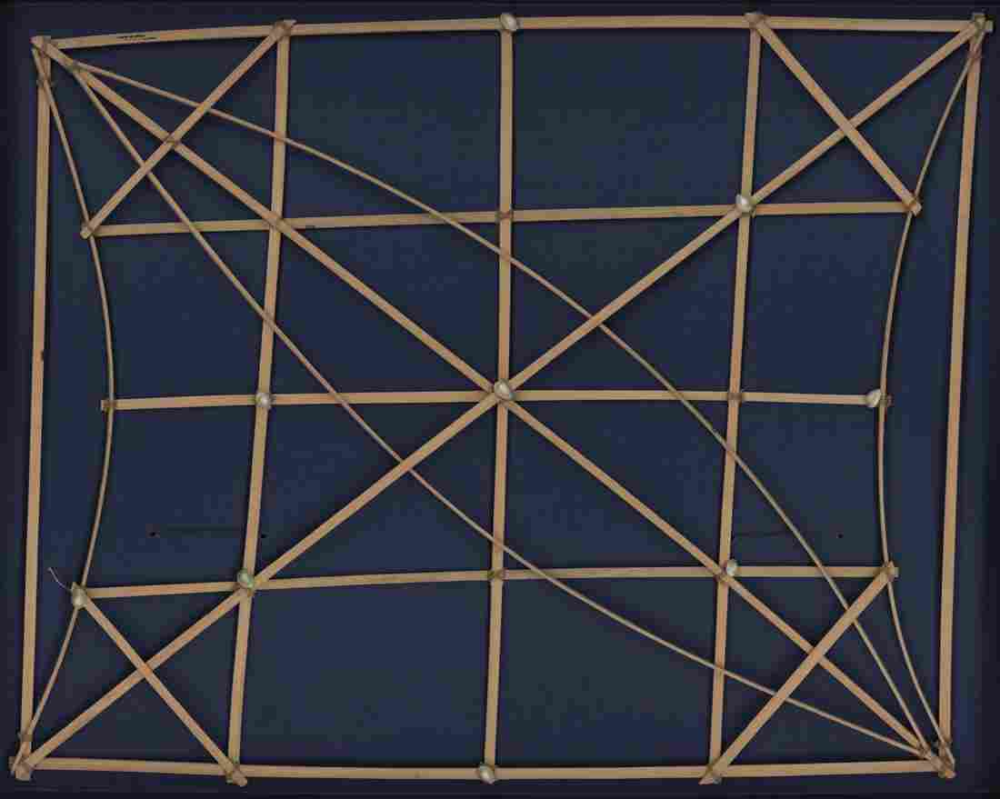 This is a Marshall Islands stick chart known as a Mattang. The shells represent islands, and the sticks show the patterns of waves around the islands.