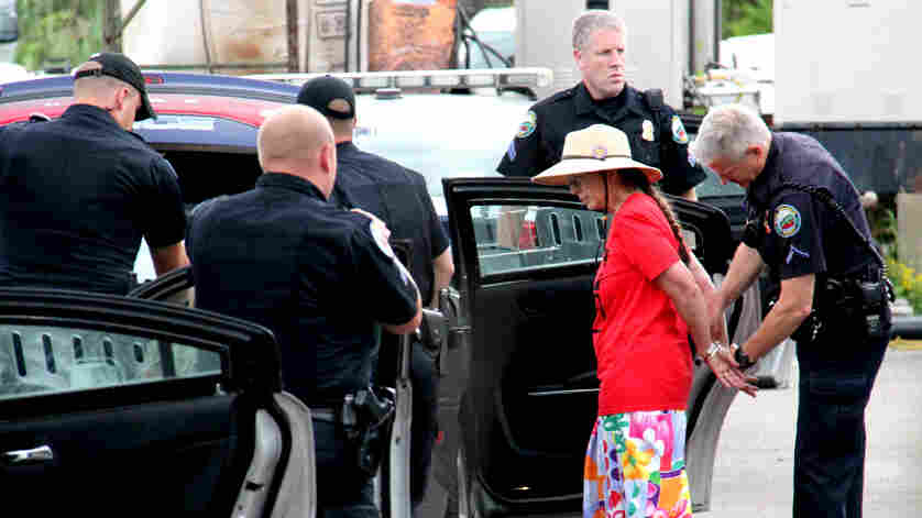 Jane Palmer of Monkton, Vt., was arrested after refusing to leave the Vermont Gas Systems headquarters in South Burlington on Wednesday. She and four other women were knitting in protest of a planned pipeline.