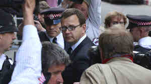 Former News of the World editor Andy Coulson arrives for the sentencing at the Old Bailey court house in London on Friday. He was jailed for 18 months for being complicit in phone-hacking by journalists at the Rupert Murdoch tabloid he edited.