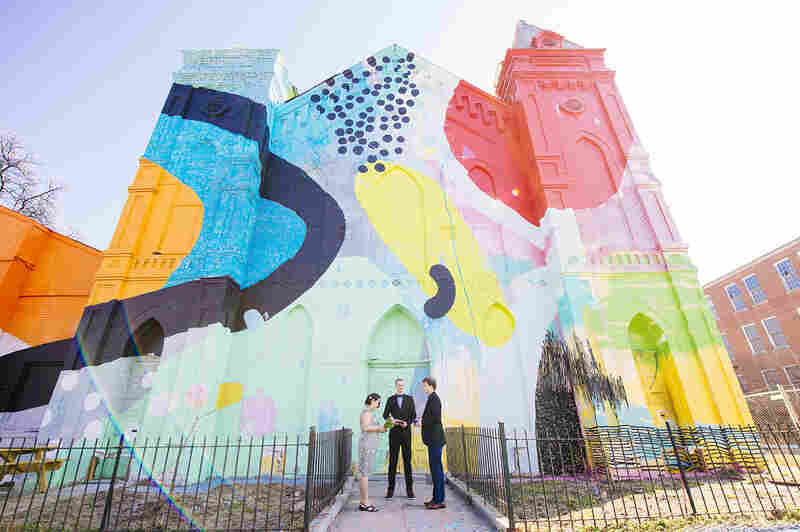 PopWed Co.'s first couple, identified as TC & Bev, wed at the colorful Blind Whino: SW Arts Club, a former Baptist church-turned-nonprofit art gallery.