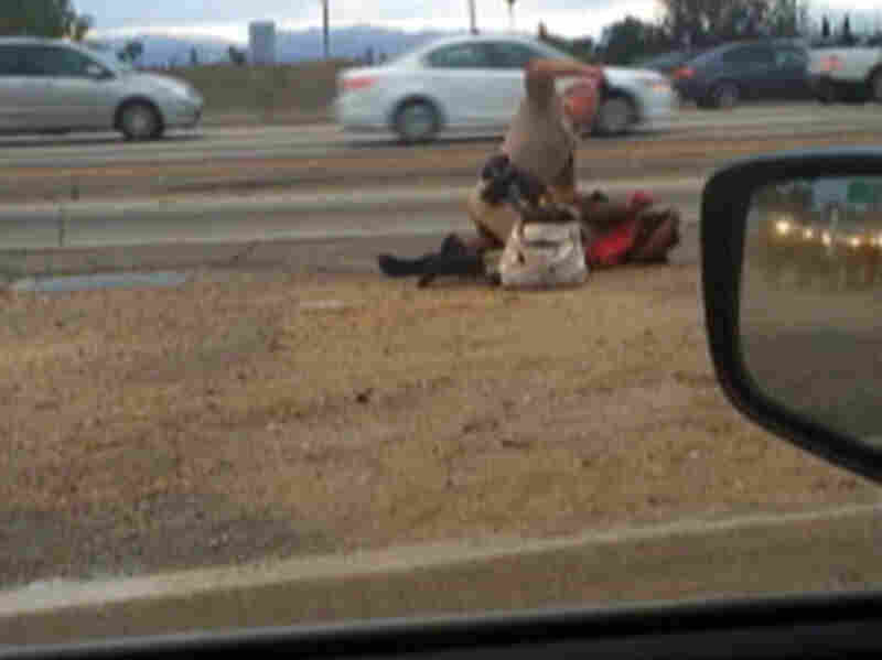 In this July 1 image from video provided by motorist David Diaz, a California Highway Patrol officer straddles a woman while punching her on the shoulder of a Los Angeles freeway.