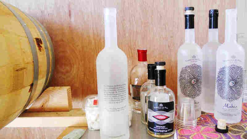 Bottles of mahia in the Nahmias et Fils distillery.