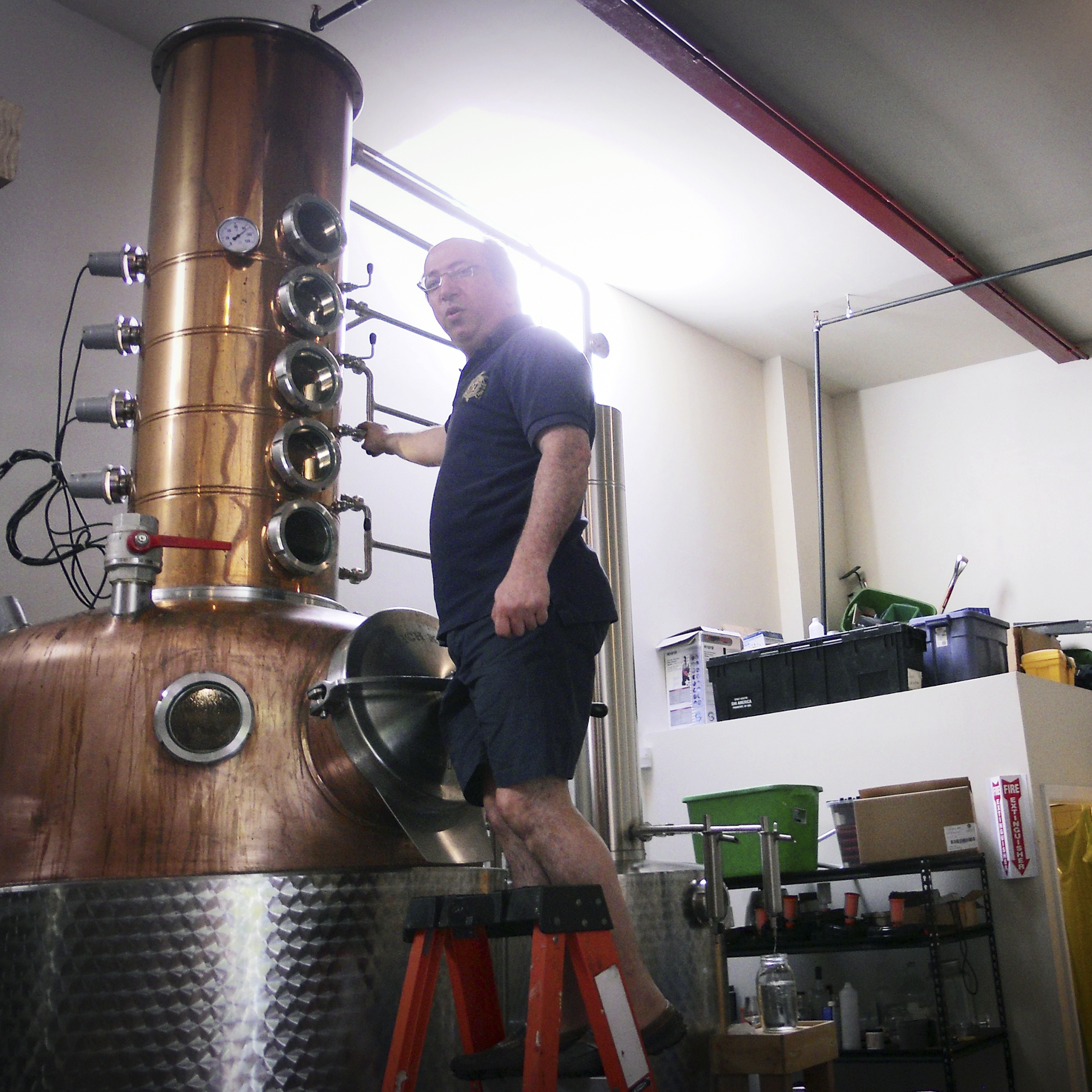 David Nahmias adjusts the still at the Nahmias et Fils distillery.