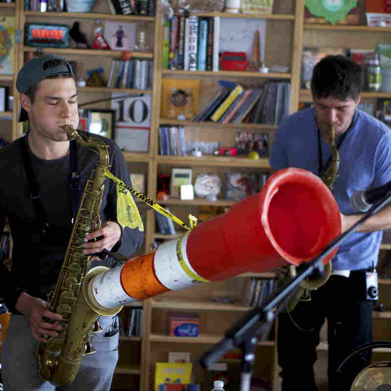 Moon Hooch performs a Tiny Desk Concert.