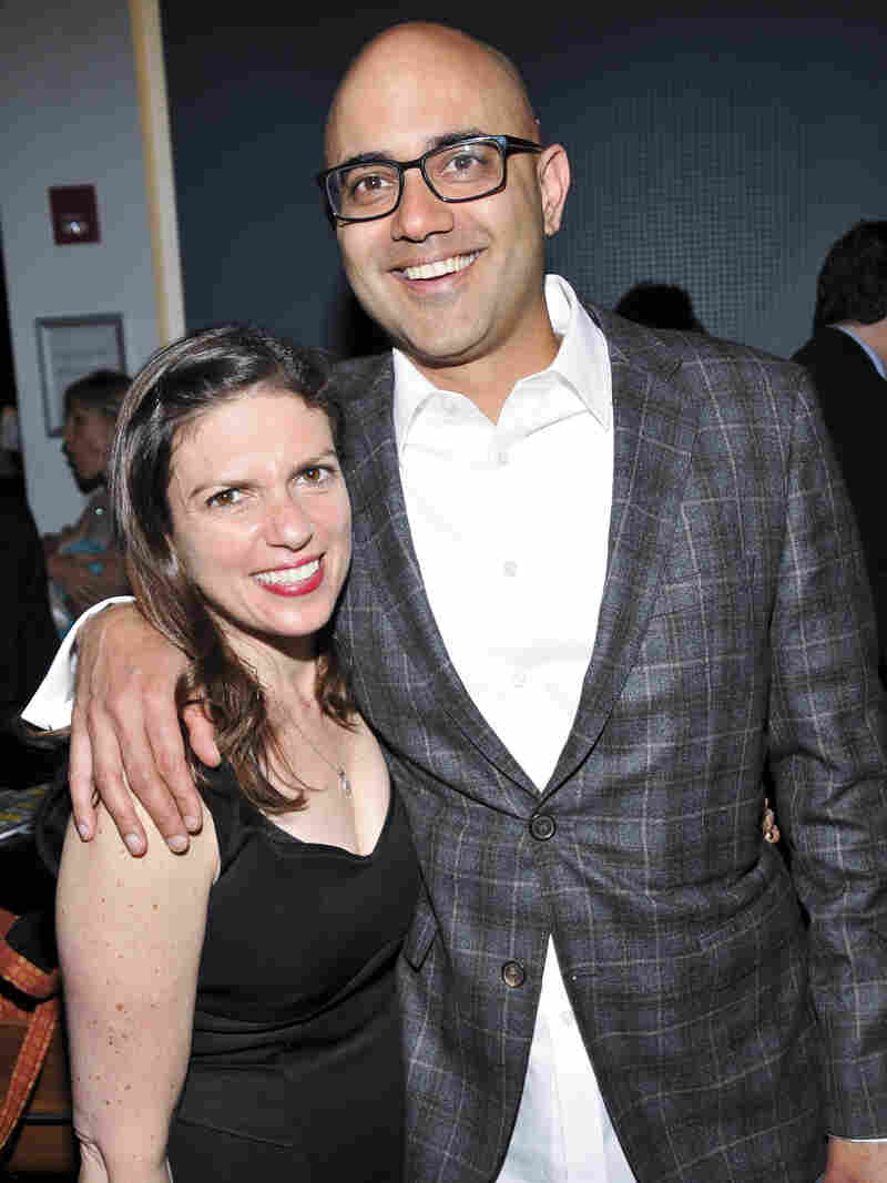 Director Kimberly Senior and playwright Ayad Akhtar pose for a photo on the opening night of The Who & the What.