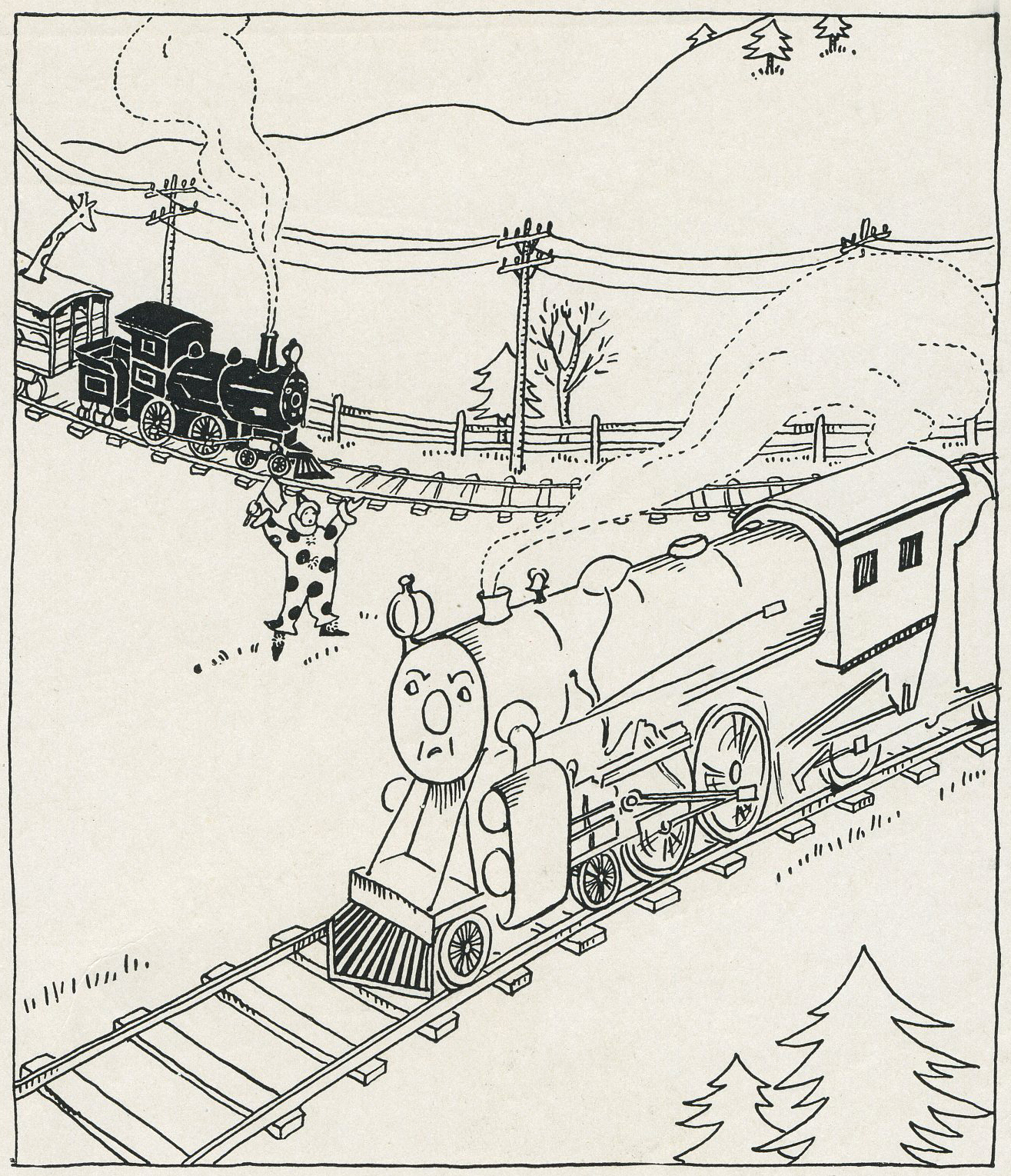 """The Big Strong Engine bellowed: 'I am a Freight Engine. I have just pulled a big train loaded with costly machines over the mountains. These machines print books and newspapers for grown-ups to read. I am a very important engine indeed. I won't carry the likes of you!' ... The little train and all the dolls and toys were very sad."""