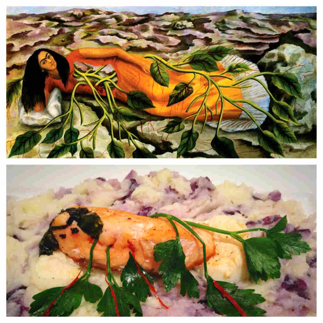 Frido Kahlo self-portrait Roots and Just Eat Life's rendition of the painting submitted through Twitter.