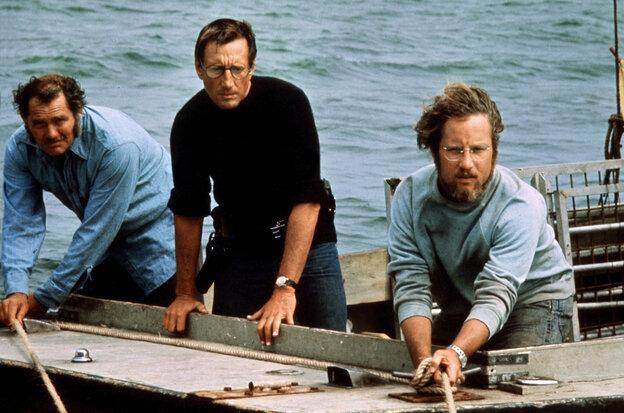 Robert Shaw (from left), Roy Scheider and Richard Dreyfuss play