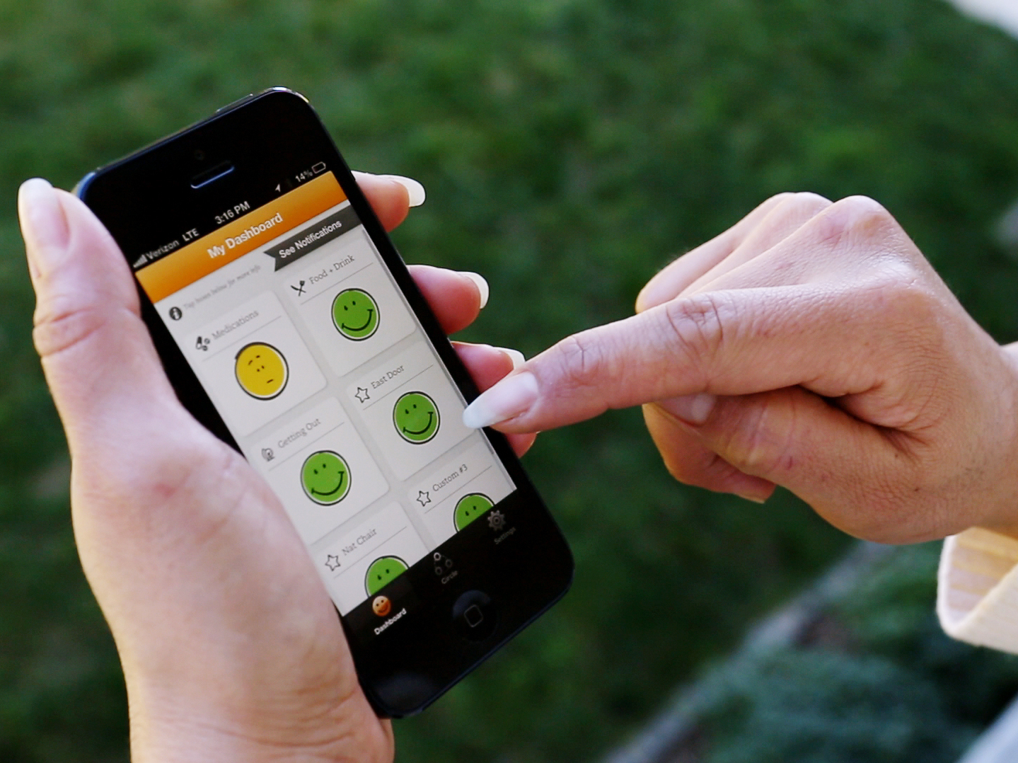 Data from Lively sensors reports to the smartphone of a relative or caregiver.