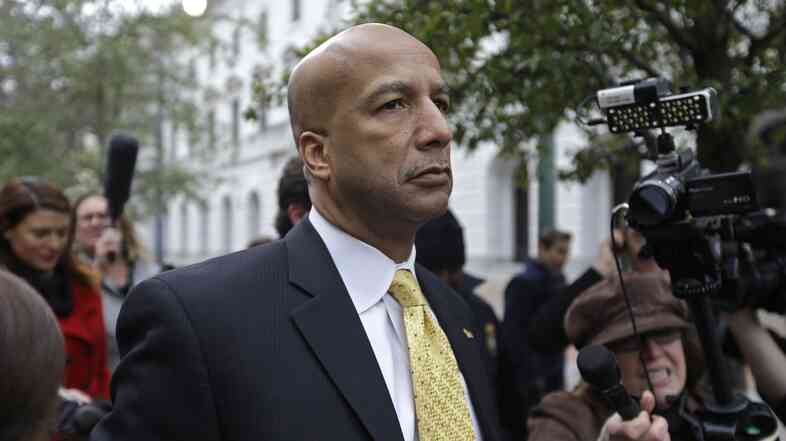 Former New Orleans Mayor Ray Nagin leaves federal court after his conviction in New Orleans on Feb. 12. He was sentenced Wednesday to 10 years in prison.