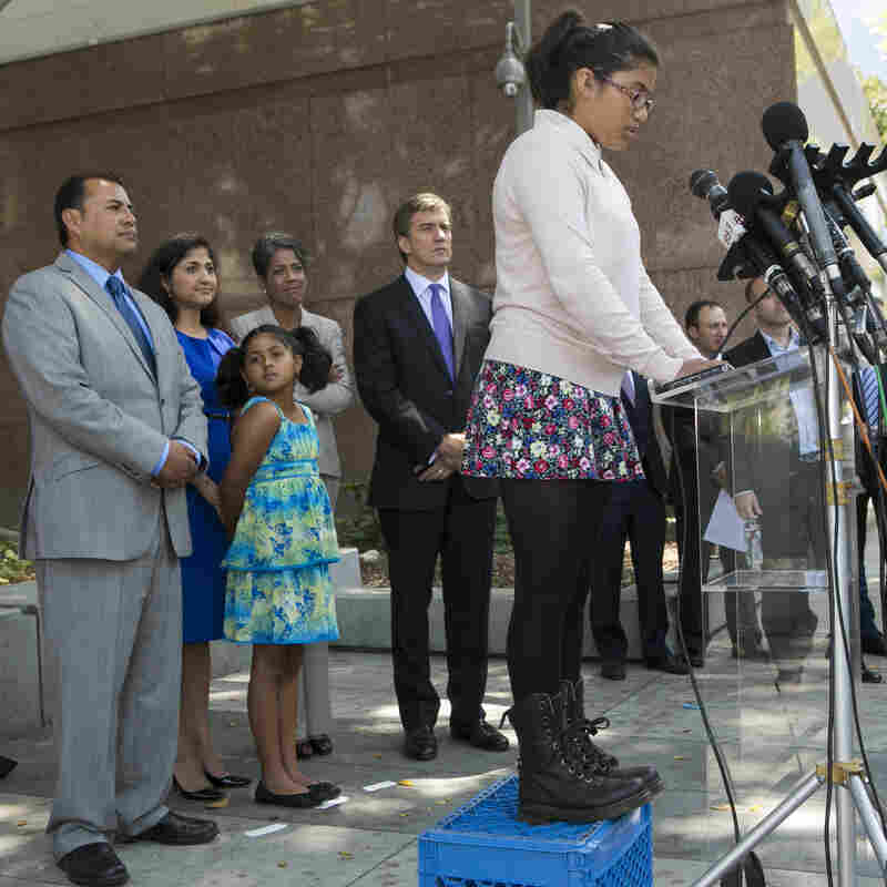 Julia Macias, a plaintiff and Los Angeles Unified School District middle school student, comments on the Vergara v. California lawsuit verdict in Los Angeles last month.