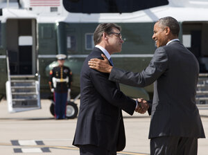 President Obama and Texas Gov. Rick Perry meet in Dallas on Wednesday. They later attended a meeting about the border and immigration together.