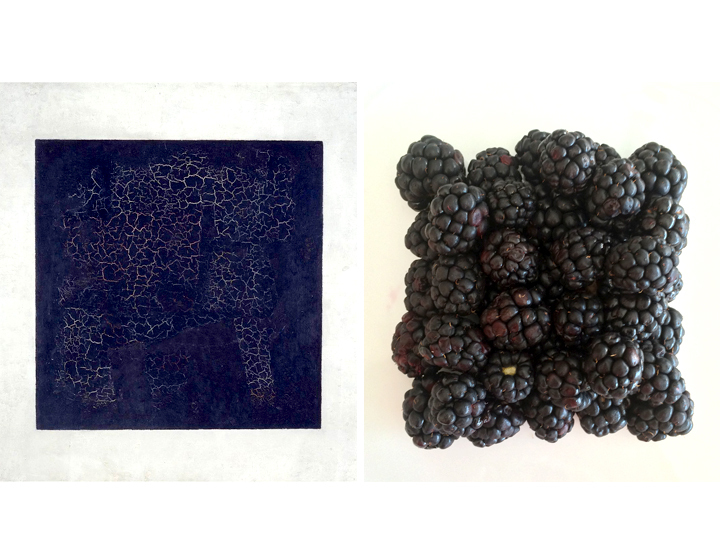 Kazimir Malevich's Black Suprematic Square; NPR's Beth Novey's Blackberry Square.