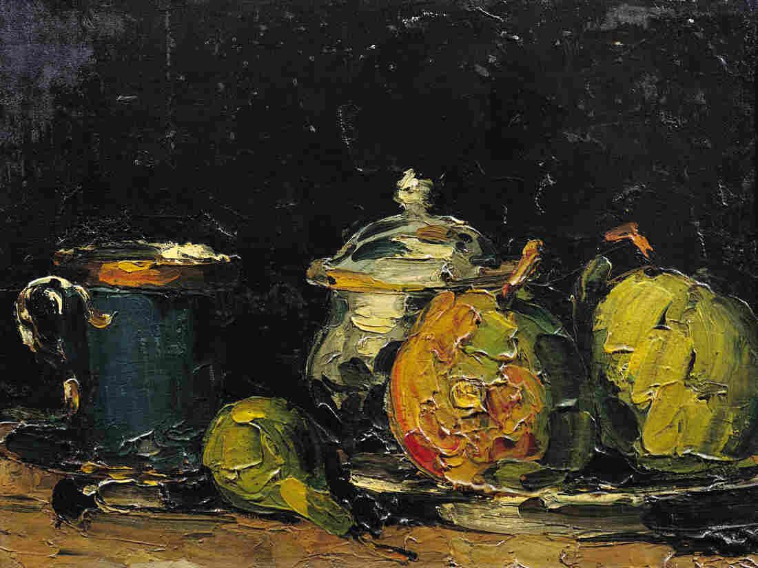 Sugar Bowl, Pears, and Blue Cup (Sucrier, poires et tasse bleue) by Paul Cezanne, circa 1866.