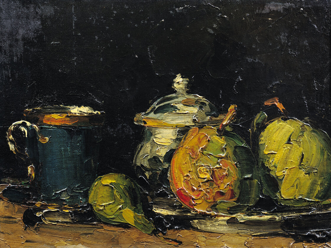 Sugar Bowl, Pears, and Blue Cup (Sucrier, poires et tasse bleue) by Paul Cezanne, circa 1866.
