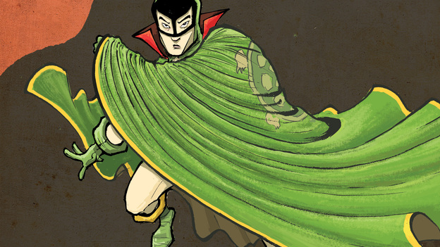 The Shadow Hero, a new graphic novel by Gene Luen Yang and Sonny Liew, revives the comic book hero the Green Turtle. (Courtesy of First Second Books)