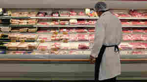 Meat is displayed in a case at a grocery store in Miami. The index of retail prices for meats, poultry, fish and eggs was up 7.7 percent from a year ago — more than triple the overall inflation rate.