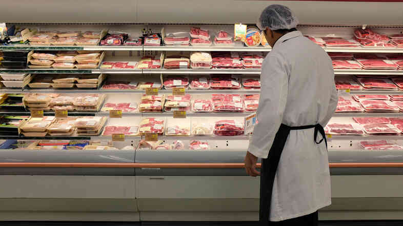 Meat is displayed in a case at a grocery store in Miami. The index of retail prices for meats, poultry, fish and eggs was up 7.7 percent from a year ago — more than triple the