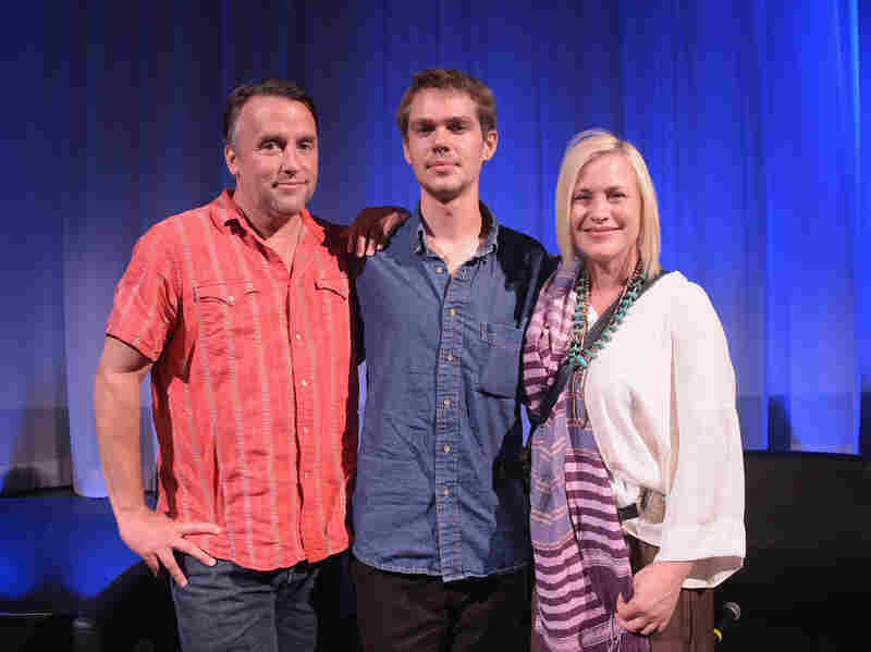 Ellar Coltrane (center) with Richard Linklater and Patricia Arquette, who plays his mother in Boyhood.
