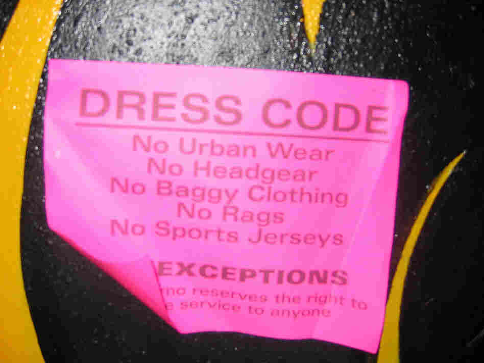 """This spot forbids """"urban wear"""" — and also orthodontia, apparently."""
