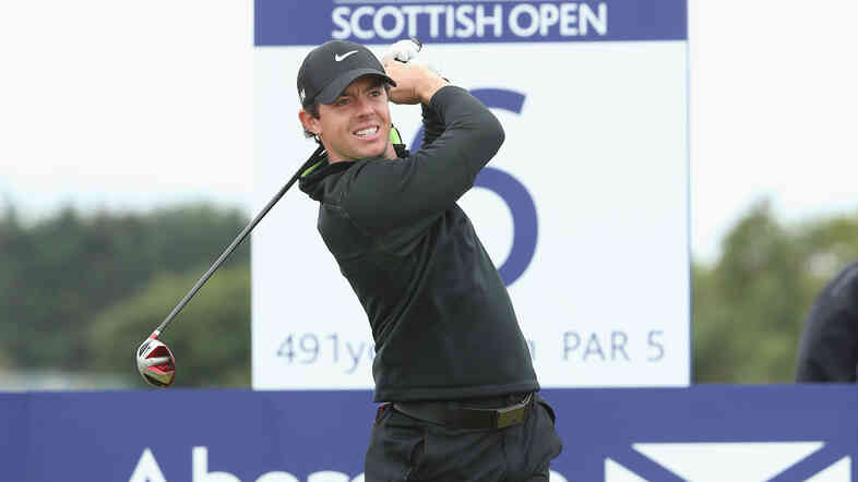 Rory McIlroy hits a drive during the Scottish Open Thursday, in a round that saw him set a new course record at Royal Aberdeen. McIlroy drove the green on the 436-yard 13th hole.